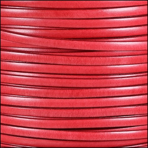 Italian Dolce 5mm Flat Leather Cord - Watermelon - per inch