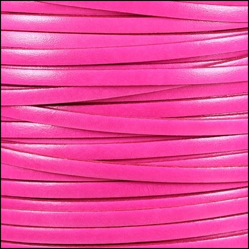 Italian Dolce 5mm Flat Leather Cord - Hibiscus - per inch