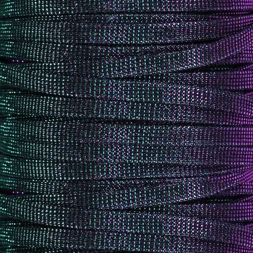 5mm Flat Iridescent Fabric Cord - Mardi Gras