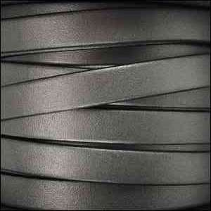 5mm Flat Leather Cord - Metallic Gunmetal