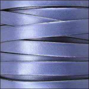 5mm Flat Leather Cord - Metallic Light Blue - per inch