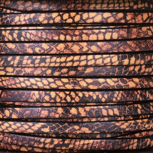 Ornate 5mm Printed Italian Flat Leather Cord - Brown Snakeskin - per inch
