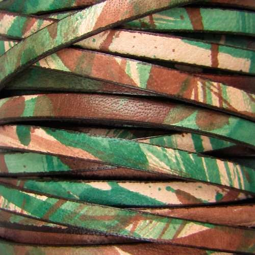 5mm Flat Leather Cord - Camouflage - per inch
