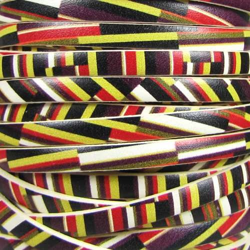 Ornate 5mm Printed Italian Flat Leather Cord - Angled Stripes