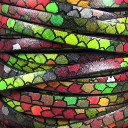 Ornate 5mm Printed Italian Flat Leather Cord - Stain Glass