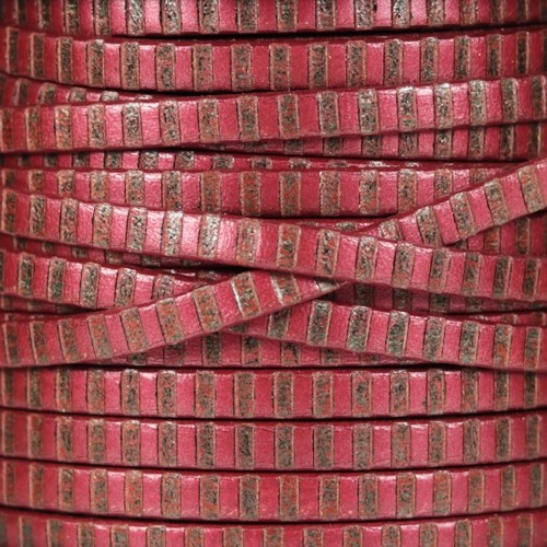 Striped 5mm Flat Leather Cord - Metallic Red / Bronze