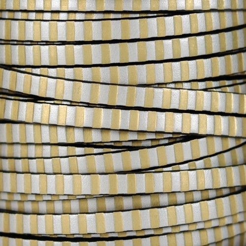 Striped 5mm Flat Leather Cord - Metallic Gold / Silver