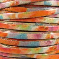 Watercolor 5mm Flat Leather Cord - Brushed - per inch