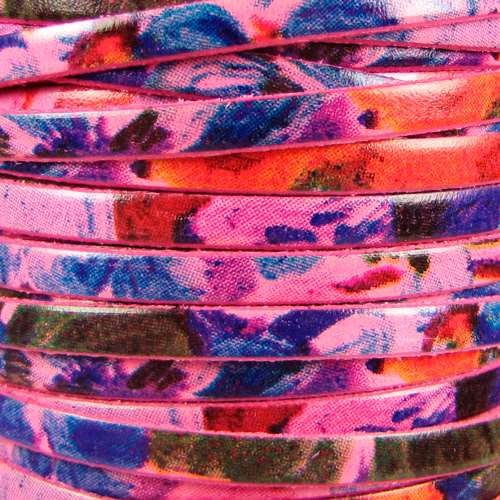 Watercolor 5mm Flat Leather Cord - Floral Pink