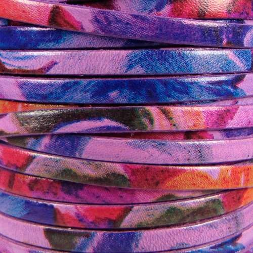 Watercolor 5mm Flat Leather Cord - Floral Purple - per inch