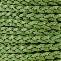 Braided 5mm FLAT Leather Cord - Natural Green - per inch