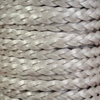 Braided 5mm FLAT Leather Cord - Metallic Pearl