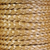 Braided 5mm FLAT Leather Cord - Metallic Gold