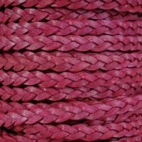 Braided 5mm FLAT Leather Cord - Natural Primrose - per inch