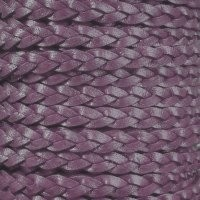 Braided 5mm FLAT Leather Cord - Metallic Berry