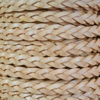 Braided 5mm FLAT Leather Cord - Antique Natural