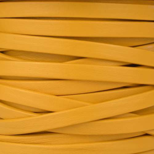Mexican 5mm Flat Leather Cord - Mustard