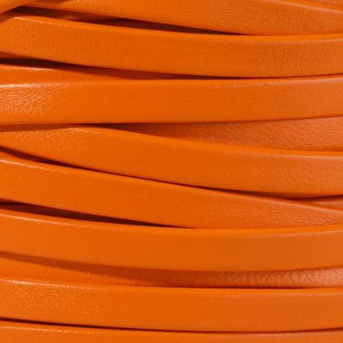 Mexican 5mm Flat Leather Cord - Orange - per inch