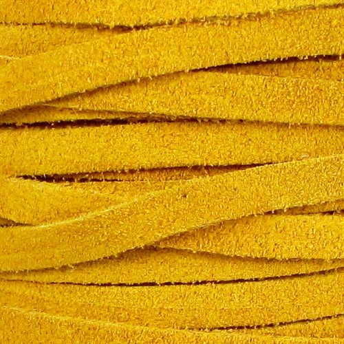 Suede 5mm Flat Cord - Mustard