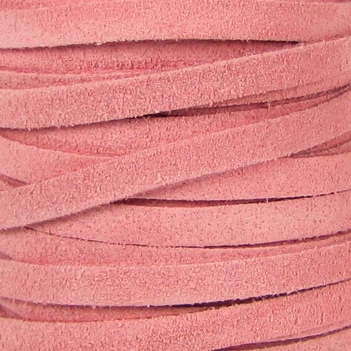 Suede 5mm Flat Cord - Pink - per inch