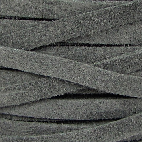 Suede 5mm Flat Cord - Grey