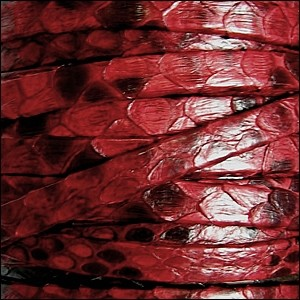Genuine Snakeskin 5mm Flat Leather Cord - Red