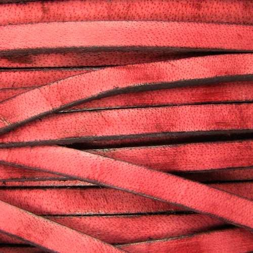 Old World 5mm Flat Leather Cord - Red