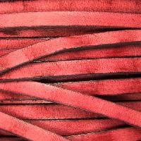 Old World 5mm Flat Leather Cord - Red - per inch