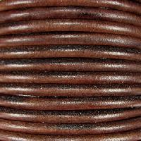 Euro 5mm Round Leather Cord - Distressed Brown - per inch