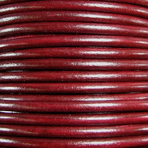 Euro 5mm Round Leather Cord - Bordeaux