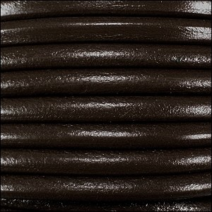 Euro 5mm Round Leather Cord - Dark Brown