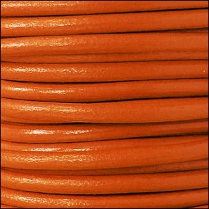 Euro 5mm Round Leather Cord - Tangerine - per inch