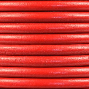 Euro 5mm Round Leather Cord - True Red
