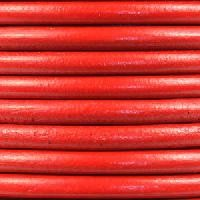 Euro 5mm Round Leather Cord - True Red - per inch
