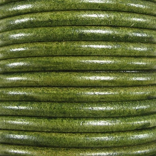 Euro 5mm Round Leather Cord - Distressed Green