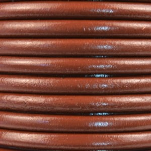 Euro 5mm Round Leather Cord - Saddle