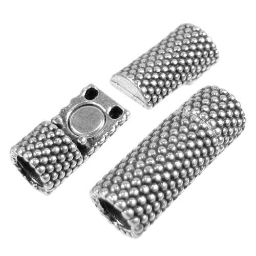 5mm Small Dots Tube Round Leather Cord Magnetic Clasp - Antique Silver