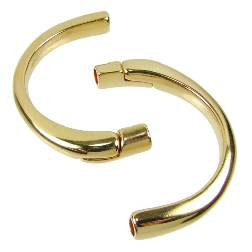 5mm Half Circle Cuff ROUND Leather Cord Magnetic Clasp - Gold Plated