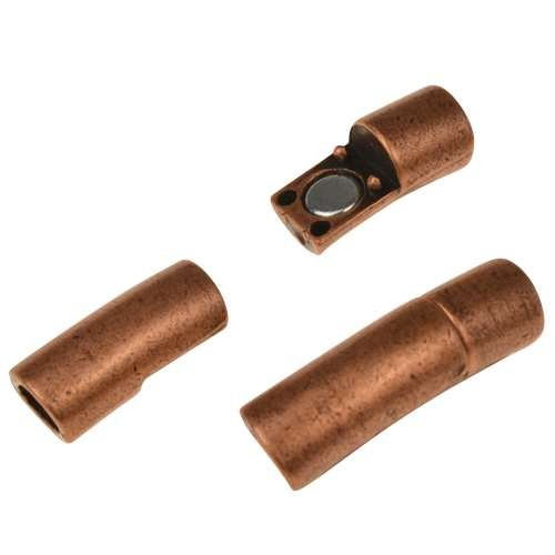 5mm Tube Round Leather Cord Magnetic Clasp - Antique Copper