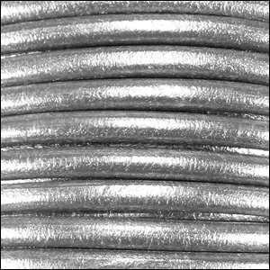 Euro 5mm Round Leather Cord - Metallic Silver - per inch