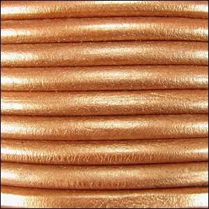 Euro 5mm Round Leather Cord - Metallic Copper