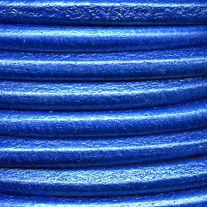 Euro 5mm Round Leather Cord - Metallic Electric Blue