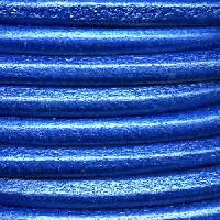 Euro 5mm Round Leather Cord per 3 meters - Metallic Electric Blue
