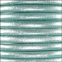 Euro 5mm Round Leather Cord - Metallic Seafoam