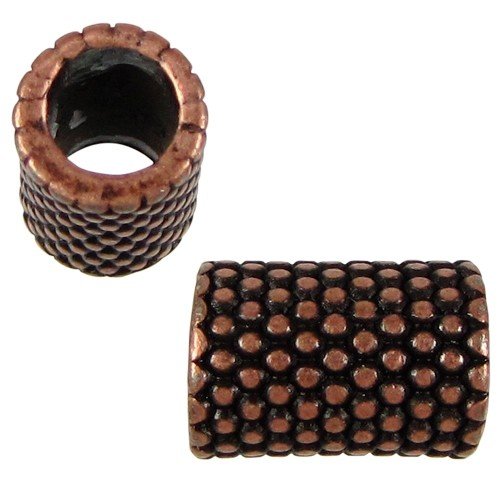 5mm Long Small Dots Round Leather Cord Slider - Antique Copper