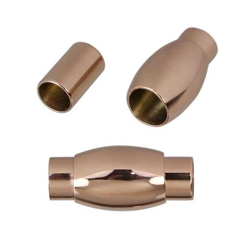 5mm Round Leather STAINLESS STEEL magnetic clasp long smooth barrel - ROSE GOLD
