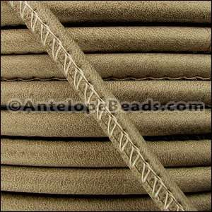 Arizona 5mm ROUND Stitched Leather Cord - Taupe