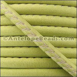 Arizona 5mm ROUND Stitched Leather Cord - Key Lime