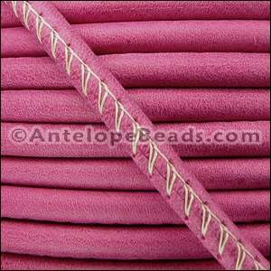 Arizona 5mm ROUND Stitched Leather Cord - Fuchsia