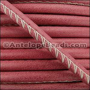 Arizona 5mm ROUND Stitched Leather Cord - Red